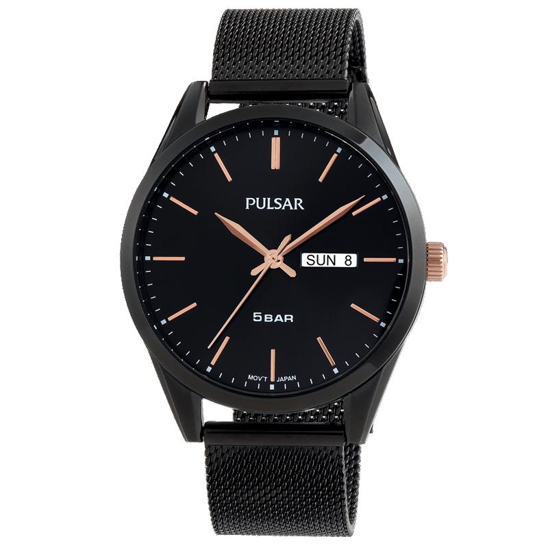Montre homme Pulsar Tradition PJ6123X1 noir titane carboné mesh