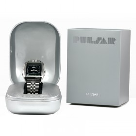 Montre Pulsar vintage acier dans son écrin et sa boîte