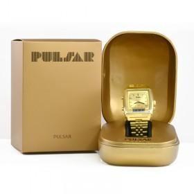 Montre Pulsar vintage doré dans son écrin et sa boîte